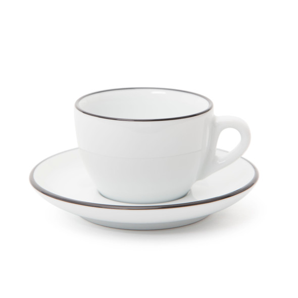 Verona Black Rimmed Cappuccino Cup and Saucer - 6.1oz - Set of 6