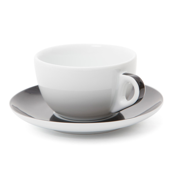 Verona Black Striped Latte Cup and Saucer - 11.8oz