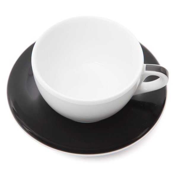 Verona Black Striped Latte Cup and Saucer - 11.8oz - Set of 6