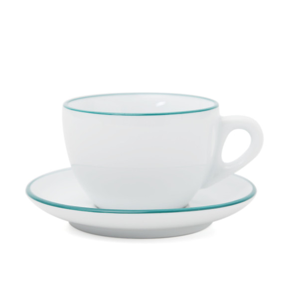 Verona Teal Rimmed Large Cappuccino Cup and Saucer - 8.8oz - Set of 6