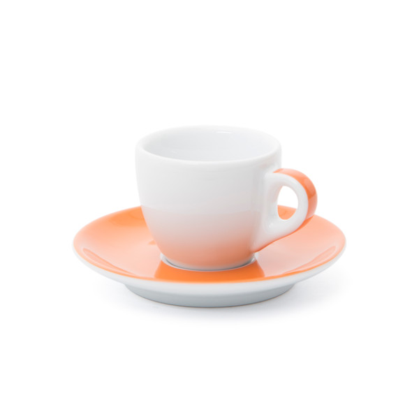 Verona Orange Striped Espresso Cup and Saucer - 2.5oz - Set of 6