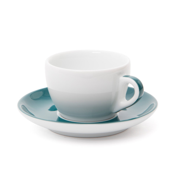 Verona Teal Striped Cappuccino Cup and Saucer - 6.1oz - Set of 6