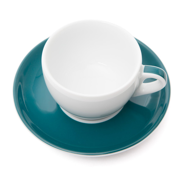 Verona Teal Striped Cappuccino Cup and Saucer - 6.1oz