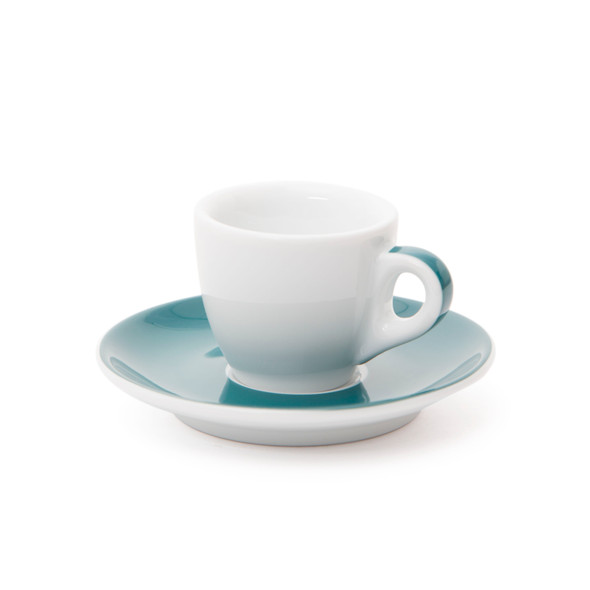 Verona Teal Striped Espresso Cup and Saucer - 1.9oz