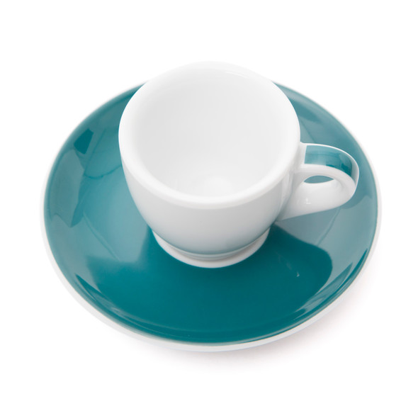 Verona Teal Striped Espresso Cup and Saucer - 1.9oz - Set of 6