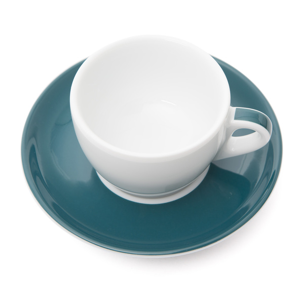 Verona Teal Striped Competition Cappuccino Cup and Saucer - 5.1oz
