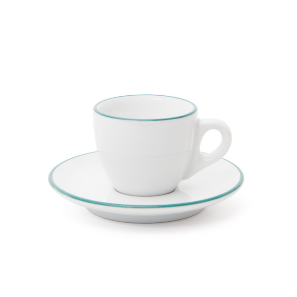 Verona Teal Rimmed Espresso Cup and Saucer - 2.5oz