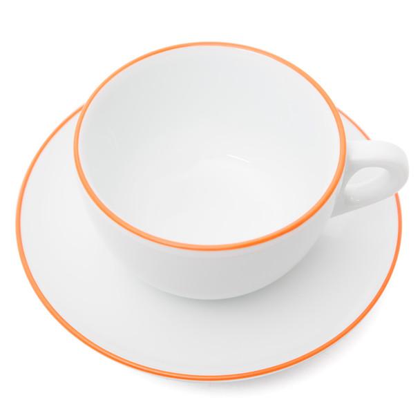 Verona Orange Rimmed Latte Cup and Saucer - 11.8oz