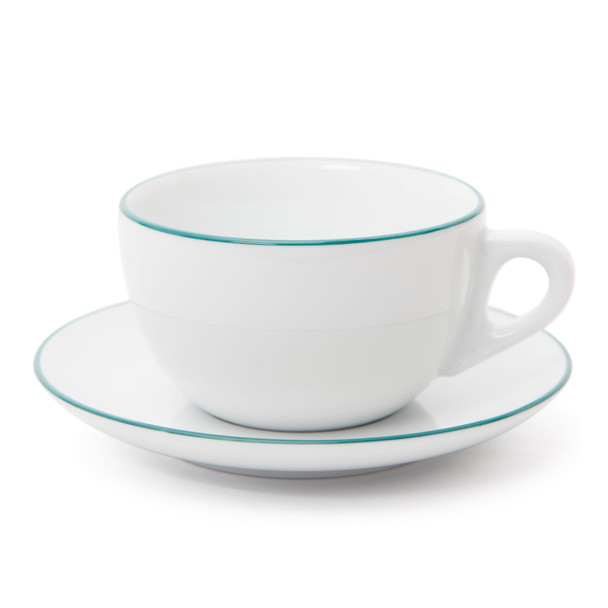 Verona Teal Rimmed Latte Cup and Saucer - 11.8oz