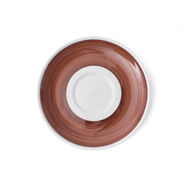 Verona Brown Hand-Painted Latte Saucer - Set of 6
