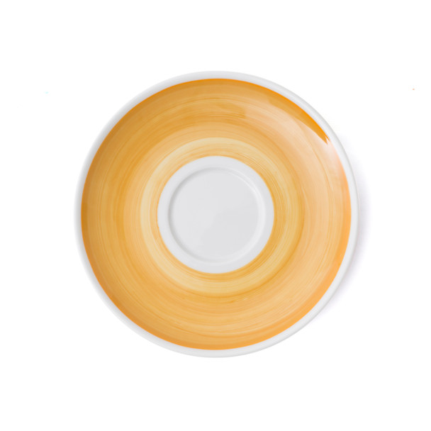 Verona Yellow Hand-Painted Jumbo Latte Saucer