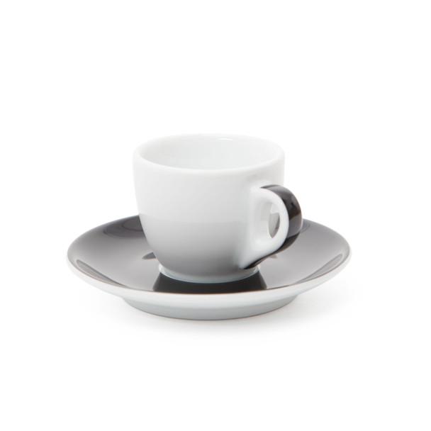 Verona Black Striped Espresso Cup and Saucer - 2.5oz - Set of 6