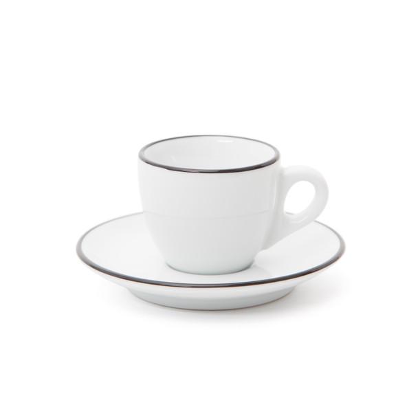 Verona Black Rimmed Espresso Cup and Saucer - 2.5oz