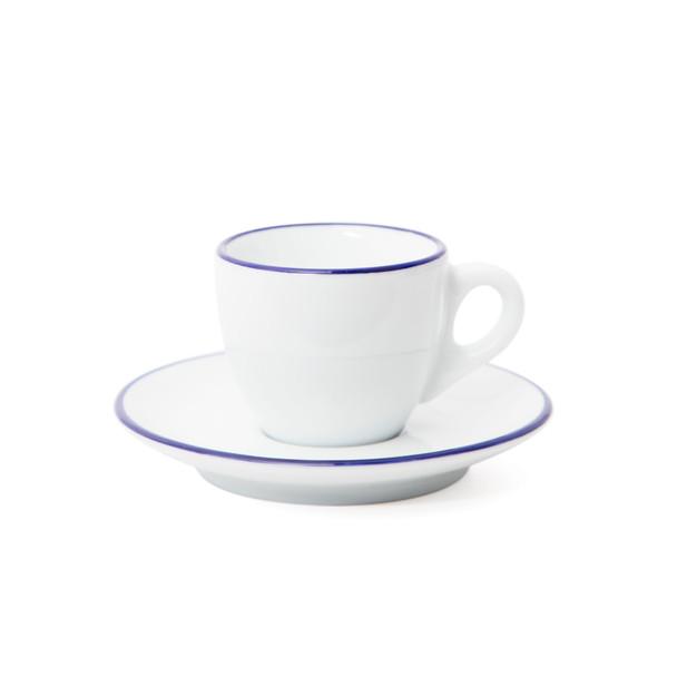 Verona Blue Rimmed Espresso Cup and Saucer - 2.5oz