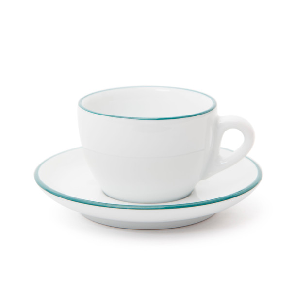 Verona Teal Rimmed Cappuccino Cup and Saucer - 6.1oz