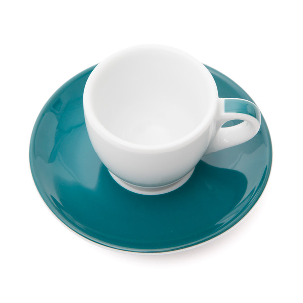 Verona Teal Striped Espresso Cup and Saucer - 2.5oz - Set of 6