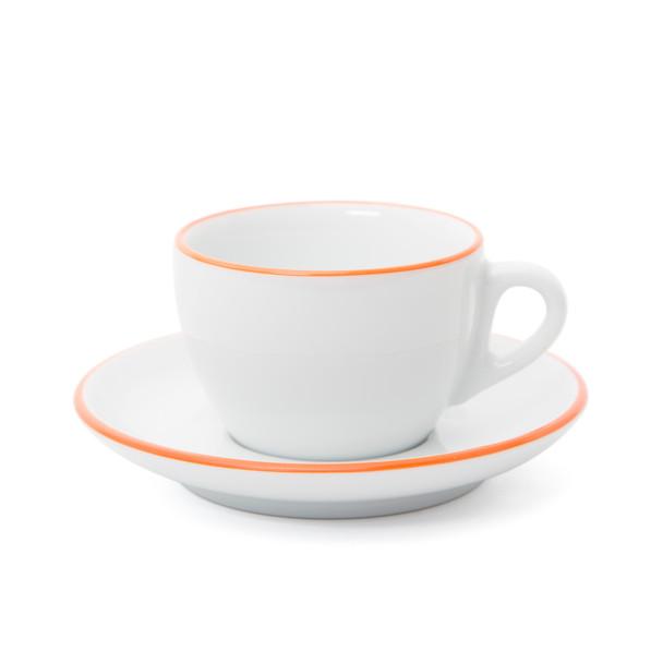 Verona Orange Rimmed Cappuccino Cup and Saucer - 6.1oz