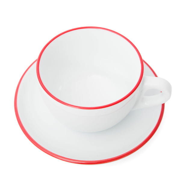 Verona Red Rimmed Large Cappuccino Cup and Saucer - 8.8oz