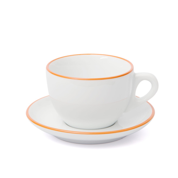 Verona Orange Rimmed Large Cappuccino Cup and Saucer - 8.8oz