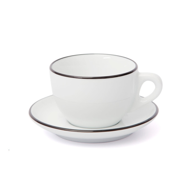 Verona Black Rimmed Large Cappuccino Cup and Saucer - 8.8oz