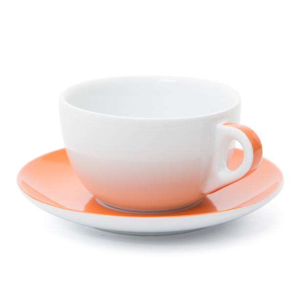 Verona Orange Striped Latte Cup and Saucer - 11.8oz