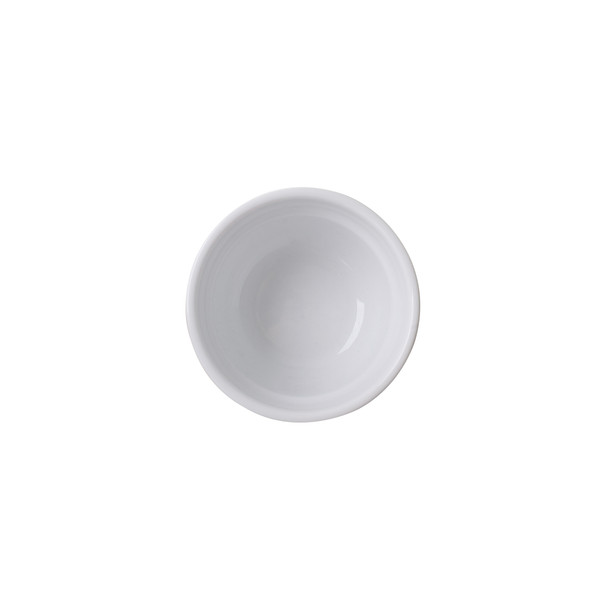 overhead view of italian porcelain cupping bowl