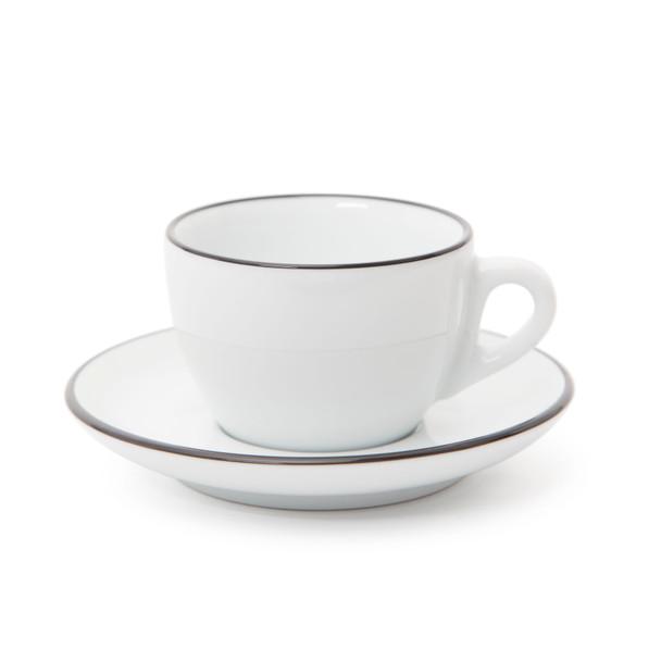 Verona Black Rimmed Cappuccino Cup and Saucer - 6.1oz