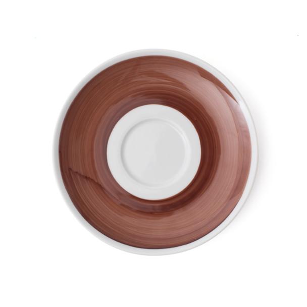 Verona Brown Hand-Painted Jumbo Latte Saucer - Set of 6