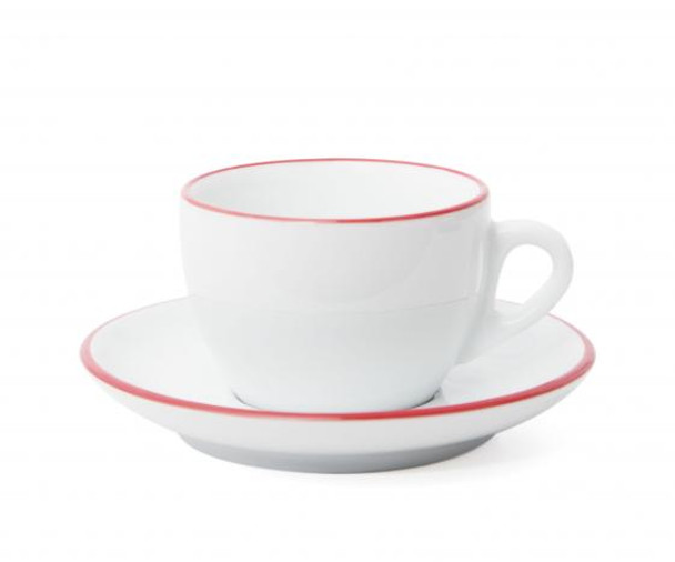Verona Red Rimmed Cappuccino Cup and Saucer - 6.1oz