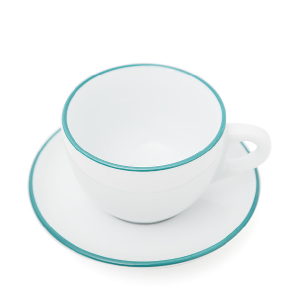 Verona Teal Rimmed Large Cappuccino Cup and Saucer - 8.8oz