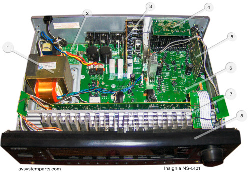 Insignia NS-R5101 Receiver Parts:96F044,7020-06500-000-1s,7020-06663-000-0s,7020-06654-000-0s,7020-06655-000-0s