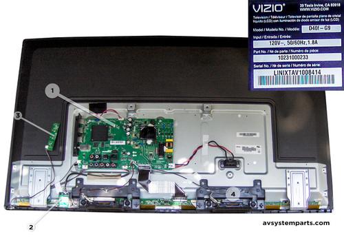Vizio D40F-G9 Parts:TP.MT5581.PB761,W7LM1110,KB-6160,S08-b1