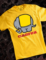 Cagiva Mens T-shirt on Yellow