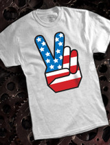 Peace Finger Mens T-shirt on Ash