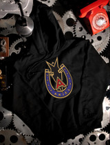 Ariel Motorcycle Badge Hoodie on Black