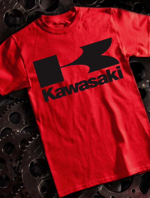 Vintage Kawasaki Mens T-shirt on Red