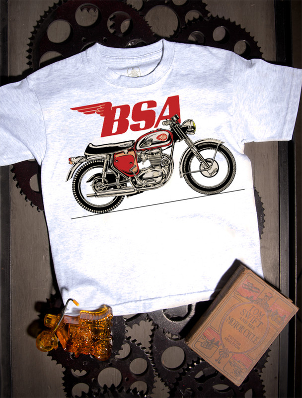 BSA A65 Kids Tee on Ash