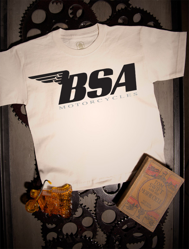 BSA Motorcycles Kids Tee on Natural