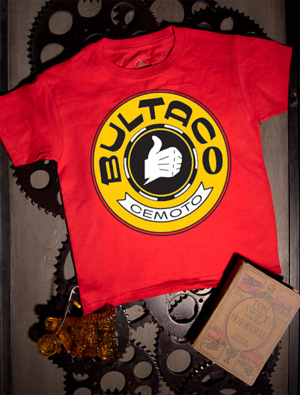 Bultaco Gold Logo Kids Tee on red