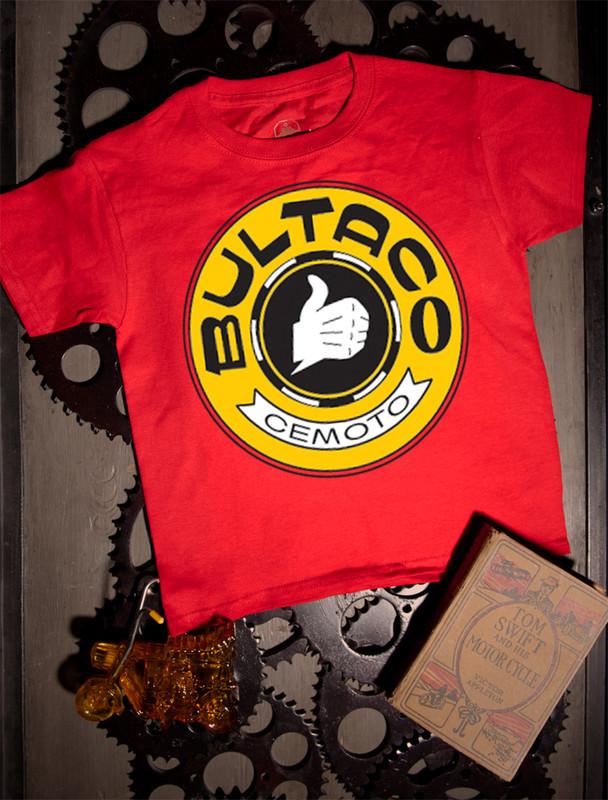 Bultaco Gold Logo Kids Tee on red