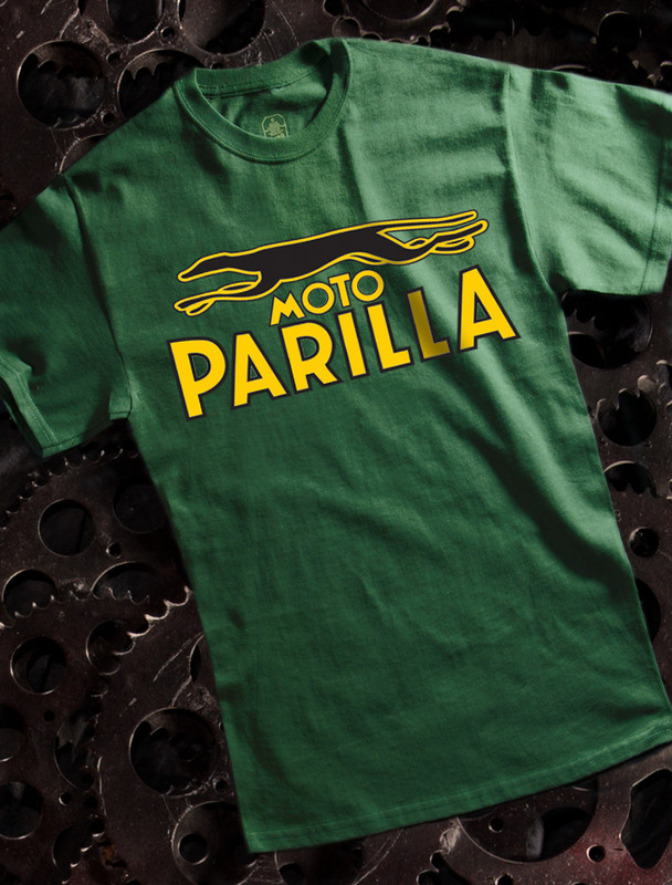 Moto Parilla Mens Tshirt on Green