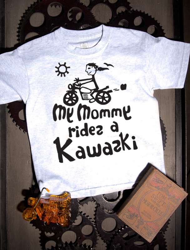 My Mommy Rides a Kawasaki T-shirt on Ash