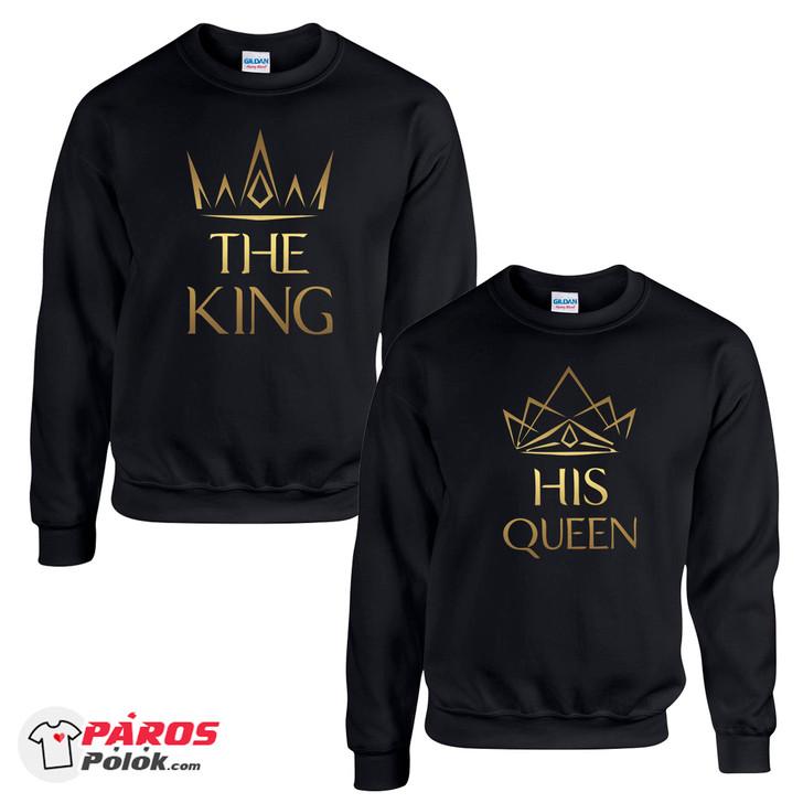 Elegant King and Queen Fekete Környakas Pulóver csomag