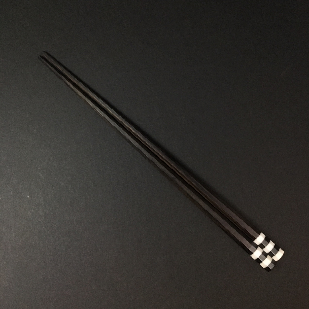 Marunao -Eight Sided Chopsticks - Black Corian + Ebony - 225mm