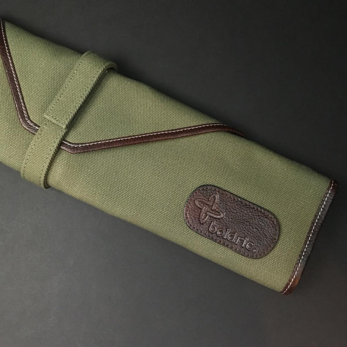 Boldric   6 pocket knife roll   Green