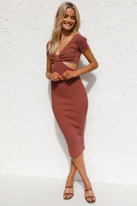 Mae Midi Dress DEEP ROSE