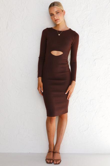 Idina Midi Dress CHOCOLATE