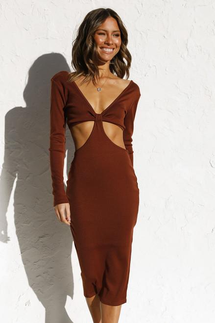Tina Midi Dress CHOCOLATE