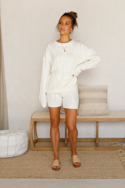 Logan Knit Shorts IVORY