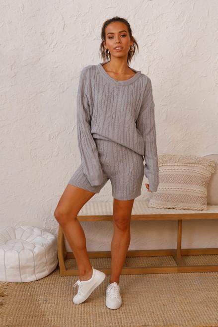 Logan Knit Shorts GREY